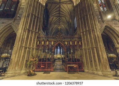 Lichfield, England - Oct 15, 2018: Interiors of Lichfield Cathedral - Rood Screen - view from Altar