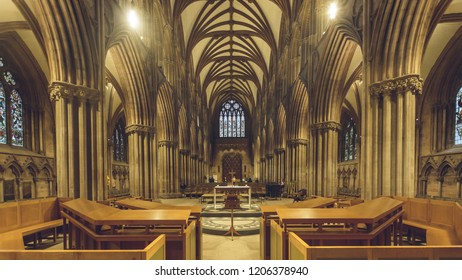 Lichfield, England - Oct 15, 2018: Interiors of Lichfield Cathedral - Nave - view from High Altar