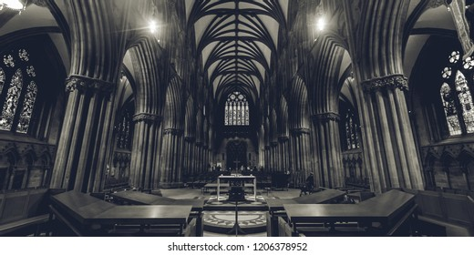 Lichfield, England - Oct 15, 2018: Interiors of Lichfield Cathedral - Nave BW - view from High Altar