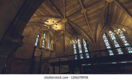Lichfield, England - Oct 15, 2018: Interiors of Lichfield Cathedral - St Chad's Head Chapel