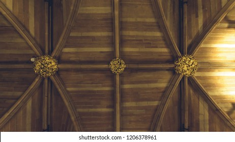 Lichfield, England - Oct 15, 2018: Interiors of Lichfield Cathedral - St Chad's Head Chapel - Boss on Ceiling
