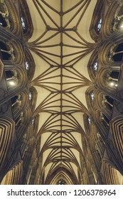 Lichfield, England - Oct 15, 2018: Interiors of Lichfield Cathedral - Nave Ceiling