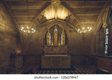 Lichfield, England - Oct 15, 2018: Interiors of Lichfield Cathedral - St Chad's Head Chapel - Altar