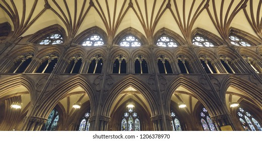 Lichfield, England - Oct 15, 2018: Interiors of Lichfield Cathedral - Triforium Gallery
