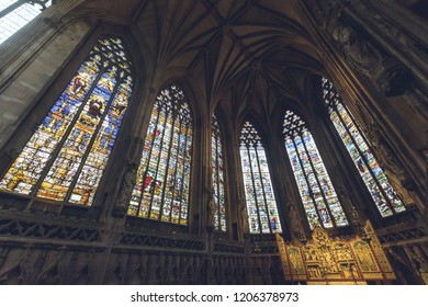Lichfield, England - Oct 15, 2018: Interiors of Lichfield Cathedral - Lady Chapel Stained Glass North Side