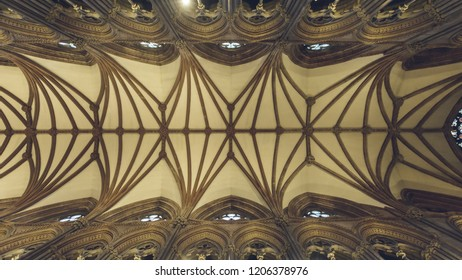 Lichfield, England - Oct 15, 2018: Interiors of Lichfield Cathedral - Ceiling in Nave