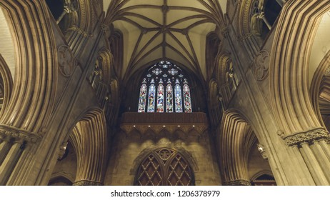 Lichfield, England - Oct 15, 2018: Interiors of Lichfield Cathedral - Stained Glass Window on West End