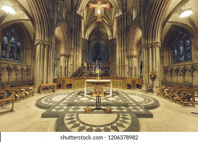 Lichfield, England - Oct 15, 2018: Interiors of Lichfield Cathedral - Altar in Nave