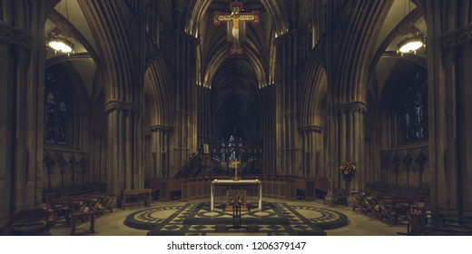Lichfield, England - Oct 15, 2018: Interiors of Lichfield Cathedral - Nave and Altar