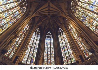 Lichfield, England - Oct 15, 2018: Interiors of Lichfield Cathedral - Lady Chapel Stained Glasses and Ceiling