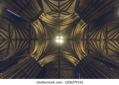 Lichfield, England - Oct 15, 2018: Interiors of Lichfield Cathedral - Tower Ceiling