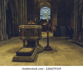 Lichfield, England - Oct 15, 2018: Interiors of Lichfield Cathedral - Font in North Transept