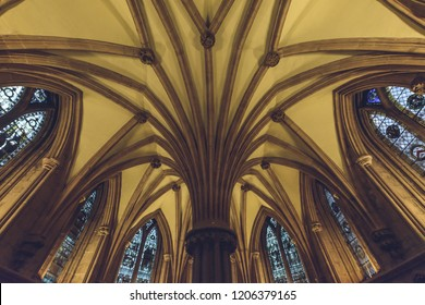 Lichfield, England - Oct 15, 2018: Interiors of Lichfield Cathedral - Vault Ceiling in Chapter House