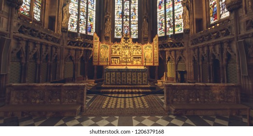Lichfield, England - Oct 15, 2018: Interiors of Lichfield Cathedral - Lady Chapel Altar