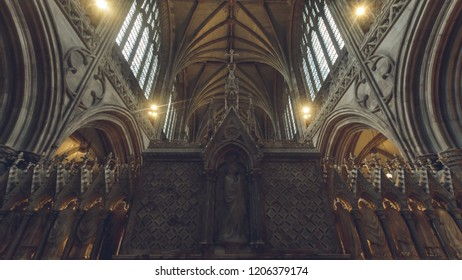 Lichfield, England - Oct 15, 2018: Interiors of Lichfield Cathedral - Back of High Altar low angle