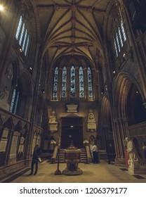 Lichfield, England - Oct 15, 2018: Interiors of Lichfield Cathedral - North Transept