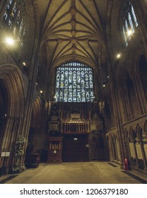 Lichfield, England - Oct 15, 2018: Interiors of Lichfield Cathedral - South Transept