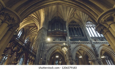 Lichfield, England - Oct 15, 2018: Interiors of Lichfield Cathedral - Organ in Choir, view from South Aisle