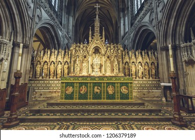 Lichfield, England - Oct 15, 2018: Interiors of Lichfield Cathedral - High Altar close up
