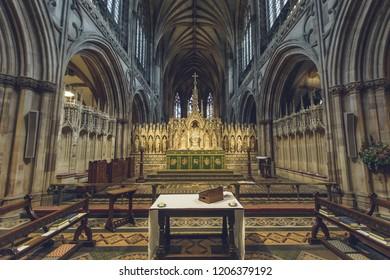 Lichfield, England - Oct 15, 2018: Interiors of Lichfield Cathedral - High Altar