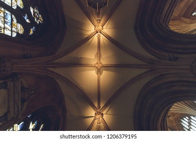 Lichfield, England - Oct 15, 2018: Interiors of Lichfield Cathedral - Ceiling in Aisle
