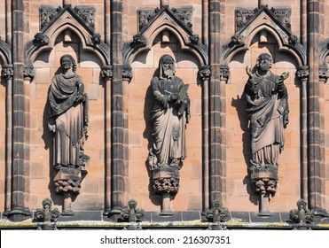 LICHFIELD, UK - SEPTEMBER 7.  With a history from the 7th century the present Gothic Cathedral dates from 1200; carved stone figures on the west front on September 7, 2014 at Lichfield, England, UK.