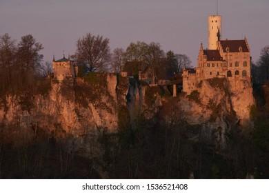 Lichtenstein castel ladsccape in sunrise