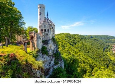 Lichtenstein castle in Black Forest, Germany, built in romantic gothic style and known as a fairy tale castle of Wurttemberg, is one of the most beautiful castles in Europe