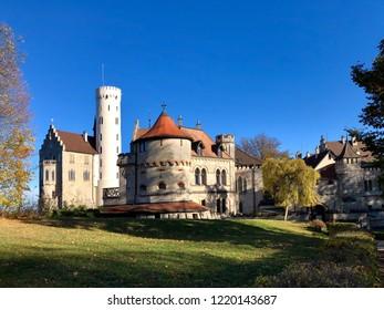 Lichtenstein Castle (Burg Lichtenstein) over the Swabian Alb on a great autumn day