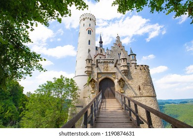 Lichtenstein Castle - Gothic Revival style and located in the Swabian Jura of southern Germany. Also known as fairy tale castle of Wurttemberg.