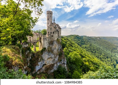 Lichtenstein Castle (Schloss Lichtenstein), a palace built in Gothic Revival style overlooking the Echaz valley near Honau, Reutlingen, in the Swabian Jura of southern Germany