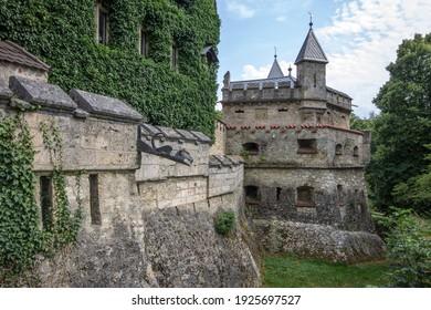 LICHTENSTEIN, GERMANY - Aug 8, 2015: The grounds of castle Lichtenstein Schloss in Baden-Wurttemberg