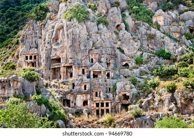 Lician tombs in the mountains in Demre (Myra), Turkey