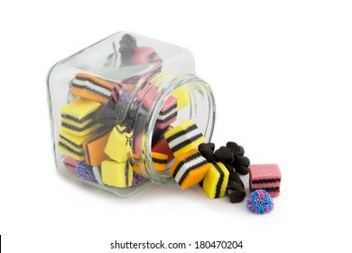 Licorice All sorts in a Fallen Jar - top angle