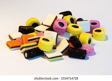 Licorice Allsorts on a stack.. This candy is typical British.