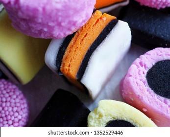 Licorice allsorts sweets close up. Macro photography.