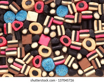 Licorice candy. Colorful sweet background.
