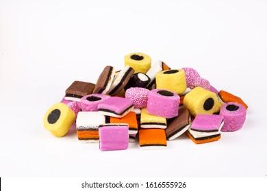 Licorice (liquorice) candy on the white background