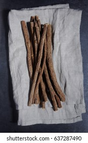 Licorice roots on a kitchen towel