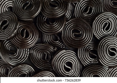 Licorice wheels candies. Candy flavored licorice. Top View