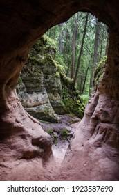 Licu Langu Sandstone Cliffs, Lode, Latvia - Shutterstock ID 1923587690