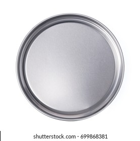 Lid or Base of Food Tin Can isolated on white background.