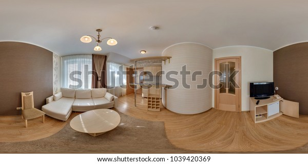 LIDA, BELARUS - MARCH 18, 2012:  360 angle panorama view in small guest room hotel in dark style color. Full 360 by 180 degrees seamless equirectangular equidistant spherical panorama. vr ar content