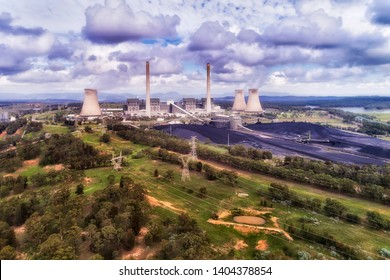 Liddell area of Hunter Valley coal basin with black coal extracted from open cut mines for generation of electricity at Bayswater power station.