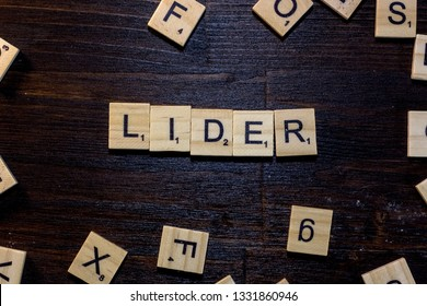 Lider word made with scrabble letters.