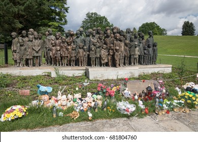 Lidice, Czech Republic - July 21, 2017: Children´s War Victims Monument in Lidice. In memory of 82 children executed by the Nazis on 10 June 1942 and millions of children who died during World War 2