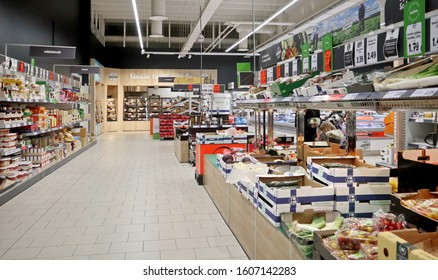 LIDL convenience store. It has often  status as the cheapest grocery shop in Finland. Shops assure customers there is plenty of supply and no need to hoard essentials. Vantaa, Finland -01-05-2020