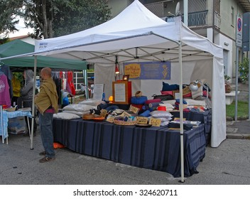 LIDO DI DANTE, RAVENNA, ITALY- OCTOBER 4, 2015: pillows stand at the vegan festival. The vegan exhibition attract thousands of people.