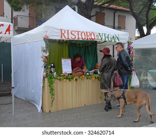 LIDO DI DANTE, RAVENNA, ITALY- OCTOBER 4, 2015: foods stand at the vegan festival. The vegan exhibition attract thousands of people.