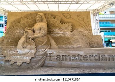 LIDO DI JESOLO, ITALY - JUNE 11, 2016: Sand Sculptures Festival in Lido di Jesolo at adriatic Sea in a beautiful summer day, Italy on June 11, 2016